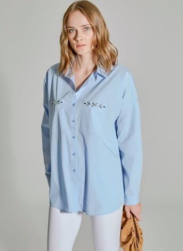 People By Fabrika Oversize İşlemeli Gömlek Mavi